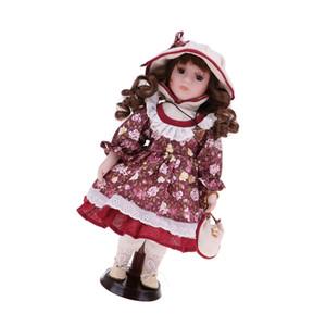 30см Фарфор Викторианский куклы в стиле кантри платье костюм, стоя девушки куклы, подарок Валентайн, домашнего офиса Настольные Настольные украшения