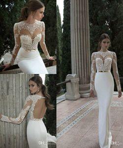 2020 Vestido De Noiva Berta Mermaid Wedding Dresses Cheap Spring Summer High Neck Long Sleeve Sheer Lace Backless Bridal Gowns Under 100