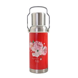 Flowers retro keep-warm glass large outdoor sports portable water kettle