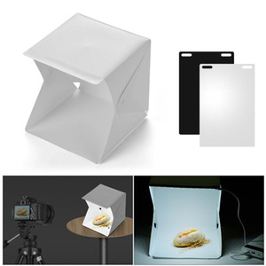 Portable DIY LED Studio Light Box 6000K Mini Foldable Photography Tent Black White Backgrounds USB for Still Life Photography