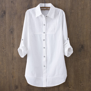 100% Cotton Spring Summer Women White Blouse Long-sleeved Slim Cotton Casual Work White Shirts Office Lady Button Tops 0.22 200924