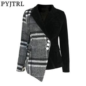 Capa femenina de manga larga ropa de moda de primavera PYJTRL Mujeres Moda tela escocesa Blazer