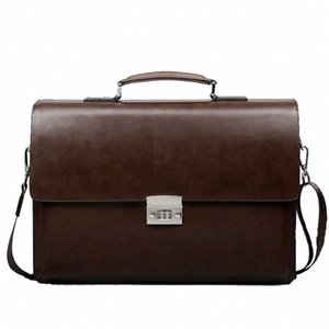 Business Man Bag Theftproof Lock PU Leather Briefcase For Man Pure Bank Mens Briefcase Bag Dress Handbag WjEu#