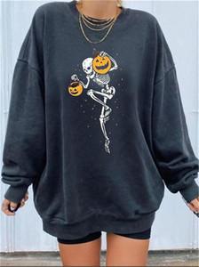 Womens Designer Halloween Pumpkin Sweats à capuche manches longues col O dames Sweat-shirts Mode Automne Hiver Patchwork Femme Vêtements