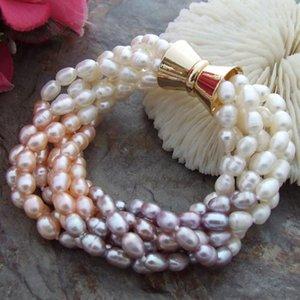 Perlen, Stränge natürlicher Süßwasser 8 '' 7 5-6mm Multi Color Rice Pearl Armband