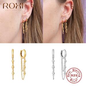 ROXI Office Drop Small Beads Hoop Earrings for Women Girls Link Chain Wedding Jewelry Earrings 925 Sterling Silver Pendientes