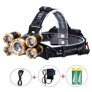 5LED Probe Light aircraft Light Waterproof Fishing Lithium T6 Outdoor Miner High Power Strong Headlamp