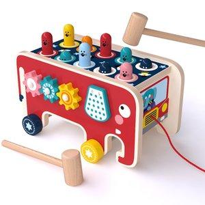 giocattoli infanzia bambino guinzaglio mano giocattoli elefante in legno colpire un regalo di vendita caldo mole del bambino