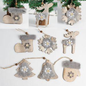 Wooden Christmas Embellishments Christmas Tree Pendant Rustic Xmas Tree Decorations Socks Hanging Pendant Christmas Decoration DHL WX9-1745