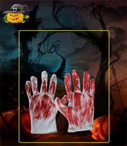 Decorações de Dia das Bruxas Máscara Luvas Fantasma Festival Decoração Props Horror Face Mask Denture com máscaras de sangue GWC2221