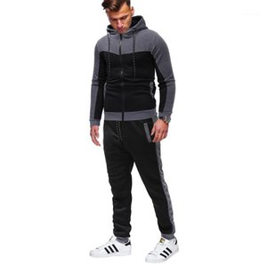 Suits Classic Monochrome Mens Casual Hooded Sportswear Mens Leisure Clothing Men Fashion Crew Neck 2pcs Hoodie