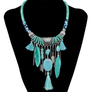 Vintage Necklace Plated Leather Chain Resin Beads Natrual Stone Feather Pendant Necklaces For Women Men Beach Boho Jewelry Colli