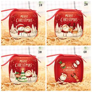 Cadeaux de Noël bonbons Sac enfants filles Père Noël Mini Monnaie de Noël Noël Bonhomme de neige Cerfs petit carré Portefeuilles Cadeaux de Noël DBC BH4048