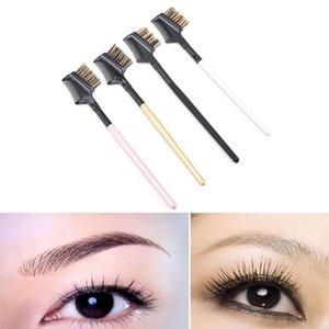 Extension à double brosse peigne peigne métallique cosmétique de maquillage Outil manche en bois + avancé Tube en aluminium + porc Mane sourcils cils