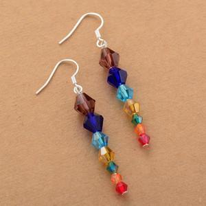 7 Chakra Earrings Bling Crystal Drop Earring Women Gifts Energy Healing Balance Earring Chakra Jewelry Wholesale