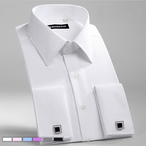 Men's Slim Fit French Cufflinks Shirt Non Iron Long Sleeve Cotton Male Tuxedo Shirt Formal Mens Dress Shirts With French Cuffs T200914
