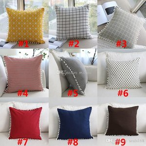 Geometric Stripe Pillow Covers Cushion Cover Cotton Linen Square Pillowcase Cushion Cover Home Office Sofa Car Decoration 17 color HH7-2039