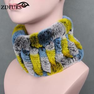 ZDFURS * Frauen echter Pelz Handgemachte Stretch Pelzschal echter Rex-Stirnband-Mädchen Natürliche Ring Schals Winter stricken