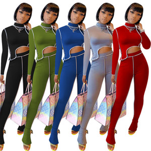 2020 new Women Two Piece Pants Set Fashion Tracksuit Long Sleeve Top Trousers Outfits Ladies Fashion Two-piece casual slit