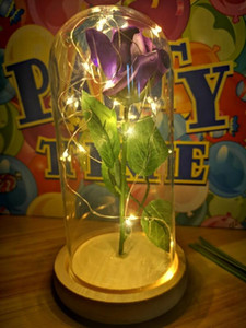Forever Rose Flower With LED Rose Lamp Light Glass Dome Bottle Artificial Magical Wedding Party Mother Day Women Girls Gift Gold