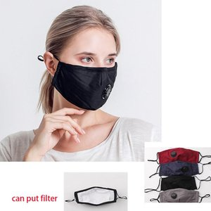 unisex Face Mask Anti Dust Mask With Breathing Valve mouth cover black Cotton Reusable Protective Masks cloth adult  masks DHC1477