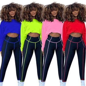 Solid Two Pieces Women Sets Scoop Neck Bat Long Sleeve Loose Crop Tops High Waist Skinny Fitness Pants Tracksuits 2020 Autumn