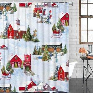 욕실 방수 커튼 크리스마스 농장 겨울 눈사람 패브릭 샤워 커튼 홈 욕실 장식 크리스마스 샤워