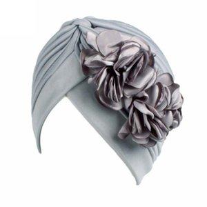 Frauen Blume Muslim Turban Elastic Hut weibliche Chemo Cap arabische Kopf-Schal-Verpackungs-Abdeckung Kopftuch Islamische Bandanas Zubehör # T1P