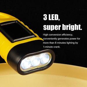 Mini Emergency Hand Crank Solar Zaklamp Oplaadbare 3 Led Light Lamp Opladen Krachtige Zaklamp Voor Camping Equipment Tool