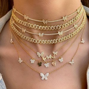 Timeless Wonder Glam Zirconia Butterfly Chains Necklace Women Jewelry Punk Designer Top Trendy Boho Ins Gothic Gift Choker 5467