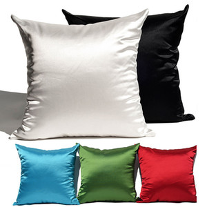 Soft Silky Satin Cushion Cover Solid Colors Home Decor Living Room Sofa Seat Throw Pillow Case Decorative Polyester Pillowcase VT1586