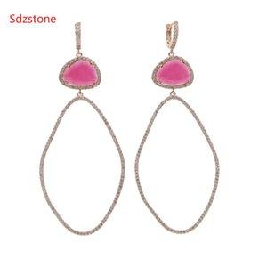 Sdzstone 70 * 34mm Gran Tamaño pendiente oval de las mujeres con el color de rosa verde grande la manera del Zircon cuelga la joyería del oído