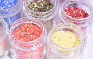 10 Colors 10ml jar Holo Nail Glitter Powder ultra-fine flash Shinning Holographic Nails Pigment Dust Chunky mix glitter,Ju-222