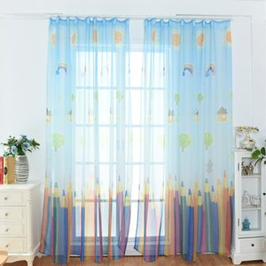 Curtains For Kids Bedroom Rainbow Pencil Print Children's Rooms Curtain Tulle For Drapes Sheer Room Transparent Blackout Living