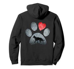German Shepherd Dog Paws Lovers coeur rouge à capuche cadeau à capuche Pull