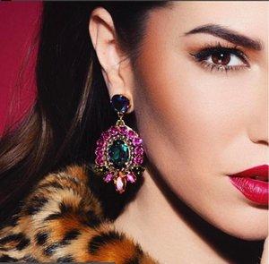 pendientes de cristal de la vendimia AOTEMAN para las mujeres 2020 nueva llegada joyas étnicas cuelga los pendientes de gota cristalinos de la boda de Boho Pendientes