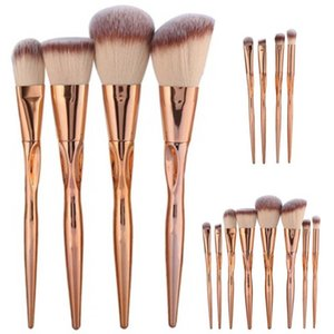 4 8pcs A Set Metal Makeup Brushes Cosmetic Face Foundation Power Eyeshadow Blush Make Up Brush Kit Maquiagem Cotton Pad Dfdf