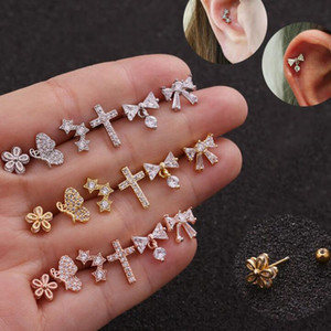 Joyería Pendientes QMHJE 1piece Mujeres Pequeño Mini Cruz abeja nudo del arco de la flor de la CZ pavimentado de oro rosa color plata Earing Aretes