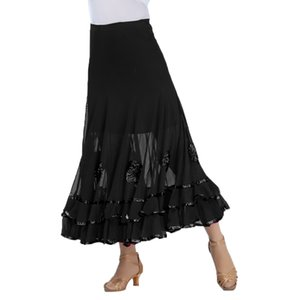 Flamenco Ballroom Dance Skirt Flower Full Swing Latin Dress Waltz Costumes