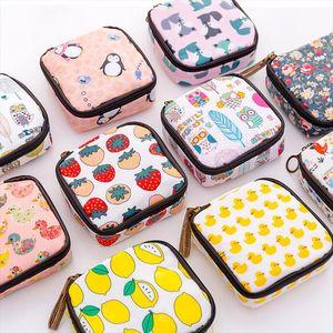 Women Mini Cosmetic Bag Cartoon Floral Animal Sanitary Napkins Bag Travel Lipstick Toiletry Coin Money Card Organizer Set Pouch
