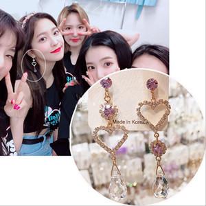 MENGJIQIAO 2020 Корейский новые серьги моды Прозрачный Кристалл бусы любовь сердца Асимметрия серьги для женщин Rhinestone Brincos