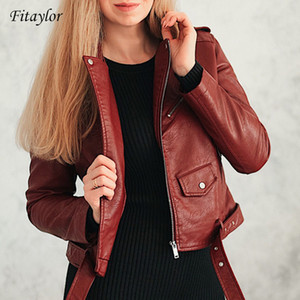 Fitaylor Spring Autumn Women Faux Soft Leather Jacket Long Sleeve Pink Biker Coat Zipper Design Motorcycle PU Red Jacket 200917