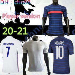 Versión del jugador FRANCIA 2020 2021 Griezmann Mbappe Maillot de Face Francia Jersey de fútbol Kante Pogba Fekir Pavard Football Shirt 20 21 Zidane