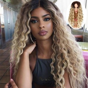 2020 Halloween African Volume Gradient Golden Yellow Fashion Wig Europe, America And Africa Long Wave Wig Cosplay