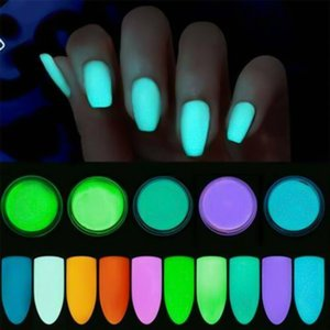 12 Boxes Set Glow In Dark Glitter Nail Phosphorescent Powder Pigment Luminous Shining Halloween Christmas Nail Art Decorations