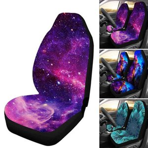 New 1 2pcs Starry Sky Print Car Seat Cover Full Wrap Coverage Dirt Resistant Universal Car Seat Cover