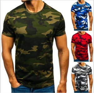 Herrenmode O Ansatz Tops Männlich Kleidung 3D Printed Camouflage Rundhalsausschnitt beiläufige kurze Sleeved T-Shirt