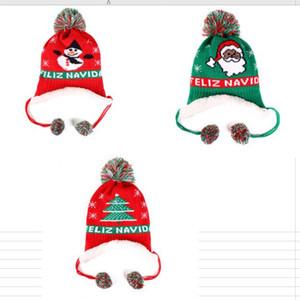 Neonate Boy Cappello di lana inverno caldo pile foderato Berretti Lettere ricamo Berretti per bambini tappo di Natale Neve Cappelli Ear Muff Cappelli D91005