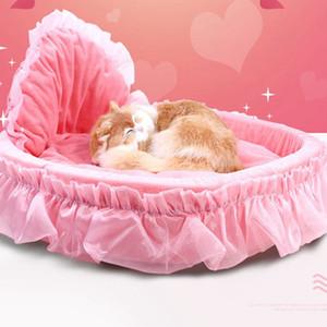 Küçük Orta Köpekler Kediler Sevimli Prenses Mat Sıcak Pet Yatak KKA8076 İçin Kız Köpek Yatak Yuvarlak Pet Lounger Yastık