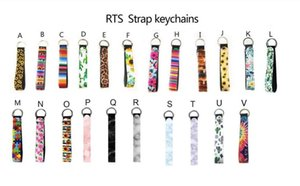 29 styles Wristband Keychains Floral Printed Key Chain Neoprene Key Ring Wristlet Keychain Party Favor 300pcs DHL Free Ship